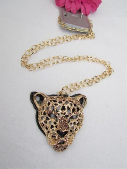 Other Women Gold Long Necklace Panther Tiger Head Pendant Rhinestones Gems