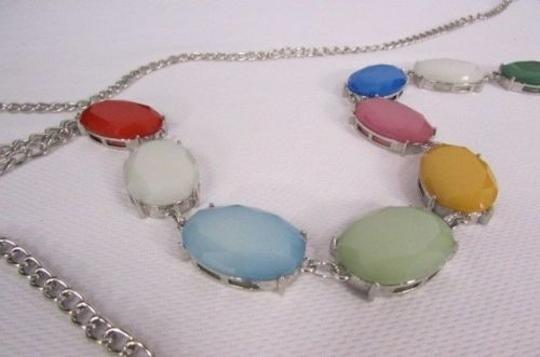 Other Women Silver Body Chain Long Fashion Necklace Big Colorfull Beads