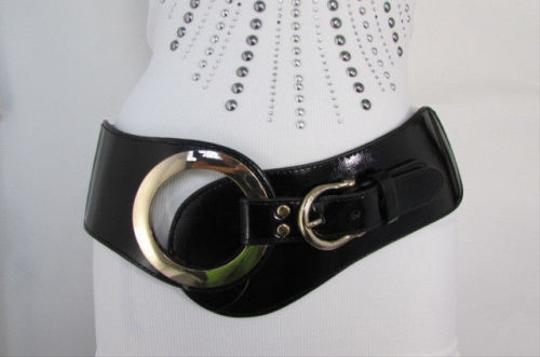 Other Women Wide Elastic Fashion Black Faux Leather Belt Gold Metal Buckle