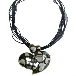 Black Heart Multi Heart W/ Sparkling Crystals Adorable Affordable Jewelry Set