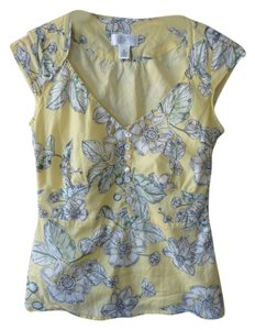 Ann Taylor Floral Top Yellow