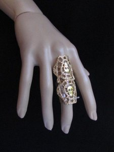 Women Statement Long Metal Trendy Big Fashion Elastic Ring Gold Skulls Nyc