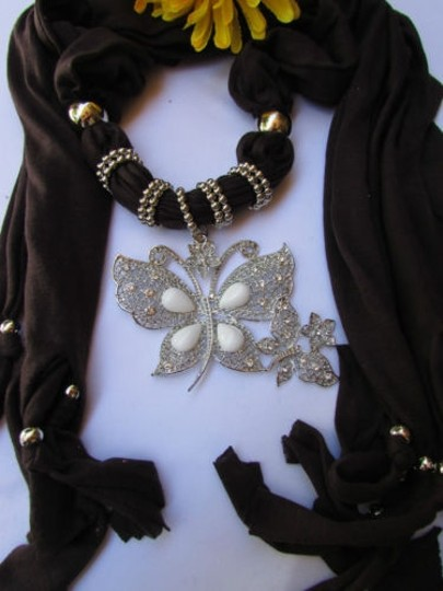 Other Women Soft Fabric Brown Fashion Scarf Long Necklace Huge Butterfly Pendant