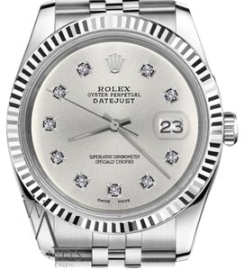 Rolex Women`s 31mm Datejust Silver Color Dial with 10 Round Diamond Watch