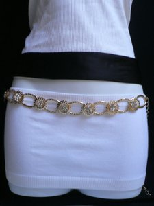 Women Hip Waist Gold Metal Fashion Belt Flowers Rhinestones 24-42 Xs-xl