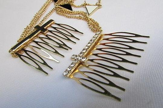 Other Women Gold Metal Head Chain Big Cross Hair Jewelry Claw Black White Triangle