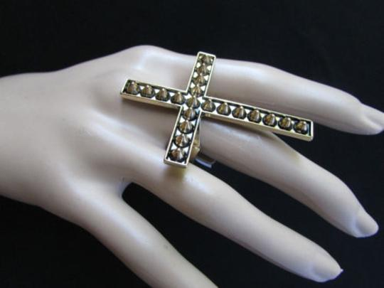 Other Women Statement Long Metal Big Cross Fashion Elastic Ring Antique Gold Spike