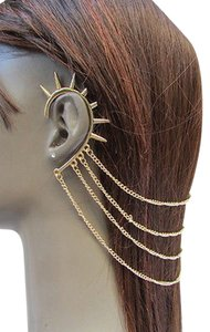 Women Gold Metal Head Chain Hair Jewelry Claw Spikes Cuff Earring Wedding