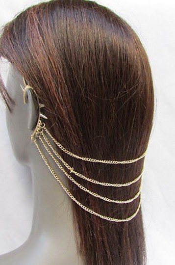 Other Women Gold Metal Head Chain Hair Jewelry Claw Spikes Cuff Earring Wedding