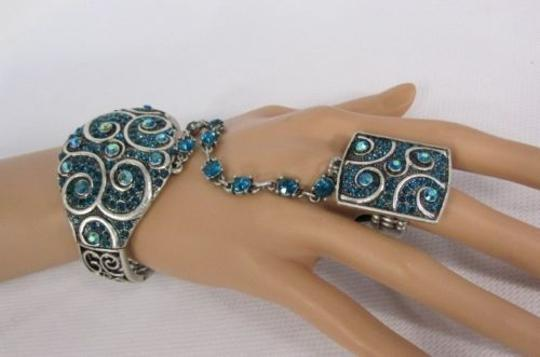 Other Women Blue Beads Fashion Silver Bracelet Hand Chains