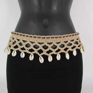 Other Women Wide Black Brown Beige Gray Tie Macrame Fashion Belt Sea Shells Charms