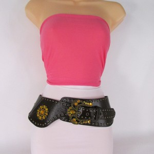 Other Women Hip Waist Brown Wide Western Belt Rhinestones Cowgirls 32-37