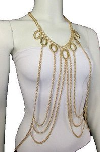 Women Gold Multi Layers Chains Chic Waves Metal Body Jewelry Long Necklace