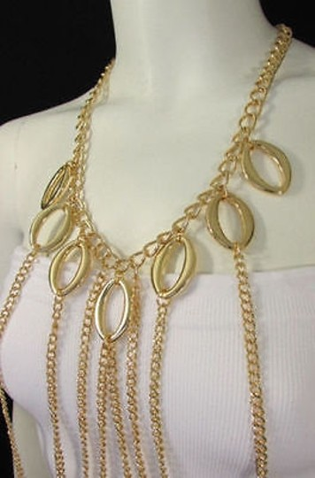 Other Women Gold Multi Layers Chains Waves Body Jewelry Necklace