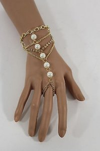Women Gold Metal Hand Chain Fashion Bracelet Slave Ring Pearl Rhinestones