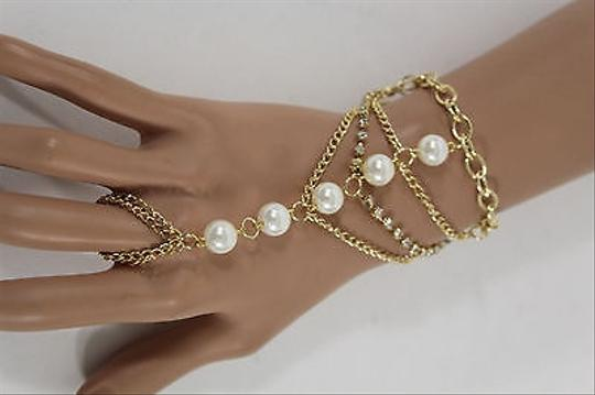 Other Women Gold Metal Hand Chain Fashion Bracelet Slave Ring Pearl