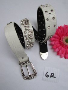 Women White Faux Leather Western Waves Belt Silver Rhinestones Buckle 30-36