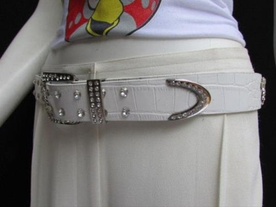 Other Women White Faux Leather Western Waves Belt Silver Rhinestones Buckle 30-36