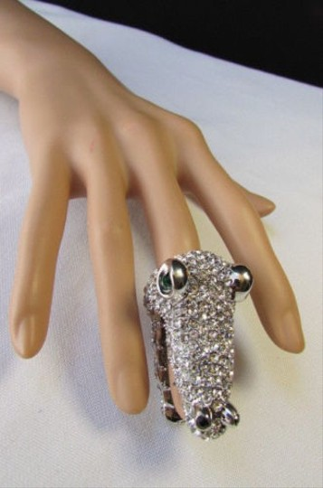 Other Women Silver Metal Ring Finger Tip Rhinestones Alligator Head Mouth