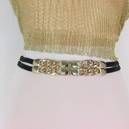 Other Women Gold Metal Chain Hip High Waist Black Elastic Fashion Belt 26-33