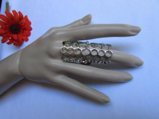 Other Women Bees Hives Trendy Big Fashion Ring Silver Miami