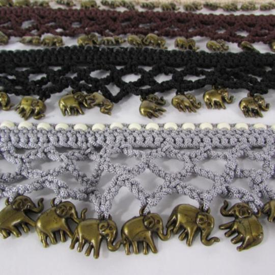 Other Women Black Brown Beige Gray Tie Fabric Fashion Belt Elephant Charms