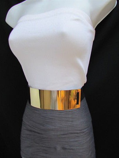 Other Women Waist Hip Wide Gold Metal Plate Fashion Belt Black Elastic 27-36 S M