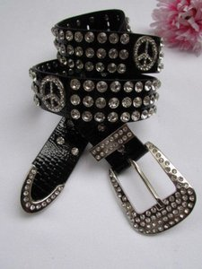 Other Women Black Belt Faux Leather Western Peace Rhinestones Silver Buckle 30-36