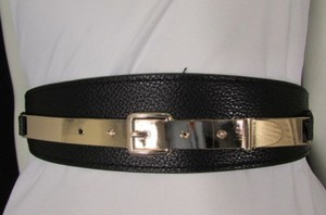 Women Gold Metal Plate Hip High Waist Black Elastic Fashion Belt 27-35