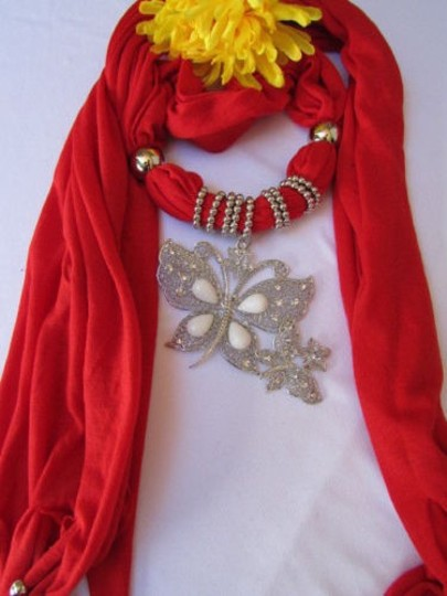 Other Women Soft Fabric Red Fashion Scarf Long Necklace Huge Butterfly Pendant