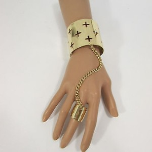 Other Women Gold Crosses Metal Hand Chains Fashion Cuff Bracelet Slave Ring