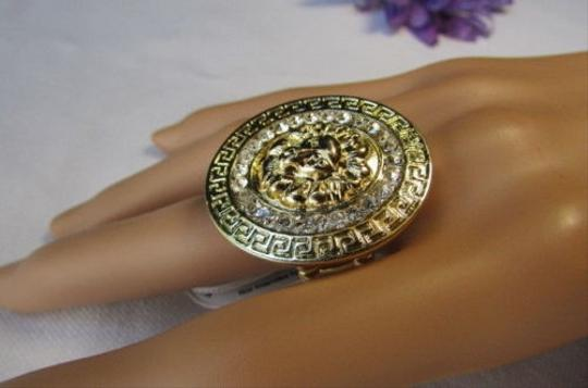 Other Women Gold Round Metal Ring Lion Head Face Silver Rhinestone Elastic
