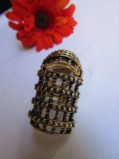Other Women Ring Statement Long Metal Jewelry Antique Gold Long