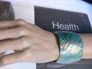 Other N Women Gold Metal Moroccan Wide Cuff Aqua Blue Color Light Thin Metal