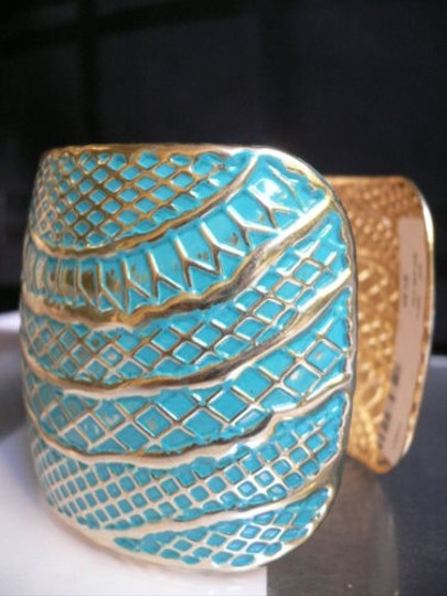 Other Women Gold Metal Moroccan Wide Cuff Aqua Blue Color Light Thin Metal