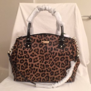 Kate Spade Leopard Patent Leather Satchel in Black Brwon (Multi)