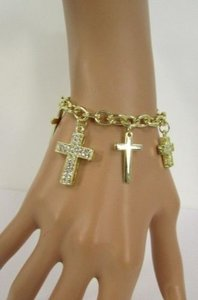 Other Women Gold Metal Crosses Charms Bracelet Fashion Jewelry Silver Rhinestones