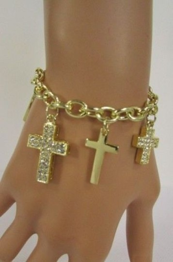 Other Women Gold Metal Crosses Charms Bracelet Fashion Jewelry Silver