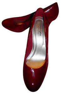 Predictions Faux Patent Red Pumps