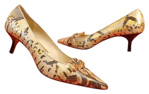Michael Kors Leather Pointed Toe Snake Multi-Color Pumps