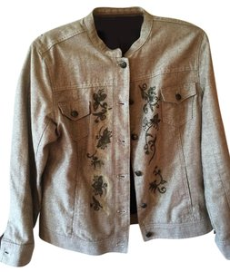 Chico's Size 2 Embroidered Brown metallic with embroidery Womens Jean Jacket