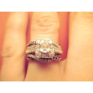 Zales Set Of 14k White Gold Diamond Engagement Ring And 14k Gold Wedding Enhanhcer Also Covered With Diamonds
