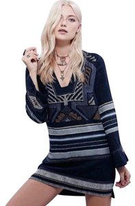 Free People short dress Black / Blue Boho Bohemian Chic on Tradesy