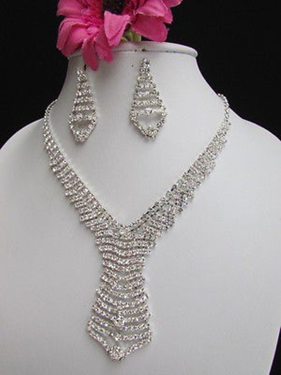 Other Women Silver Metal Fashion Tie Necklace Earrings Set Geometric Design Rhinestone