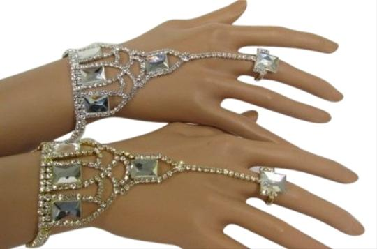 Other Women Rhinestones Beads Bracelet Hand Chain Fashion Ring Gold Silver