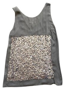 Madison Marcus Sequin Silk Top Silver