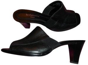 Liz Claiborne Genuine Leather Open Toe Comfortable Flex Black Mules