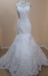 DaVinci Bridal White Lace 50203 Formal Wedding Dress Size 14 (L)