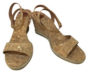 Tory Burch Cork/ Gold Flecked Wedges