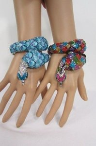 Other Women Peacock Feathers Bird Fashion Cuff Bracelet Gold Black Red Blue Multi